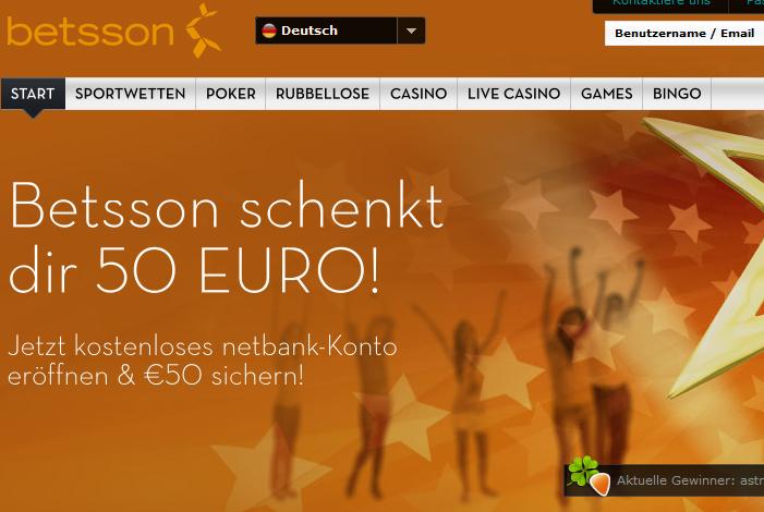 50 Euro no deposit Bonus bei Betsson